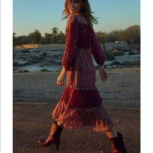 BA&SH Gypsie Mixed Print Midi Dress NWOT